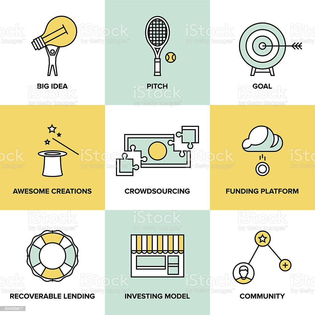 Crowdsourcing and funding money flat icons vector art illustration