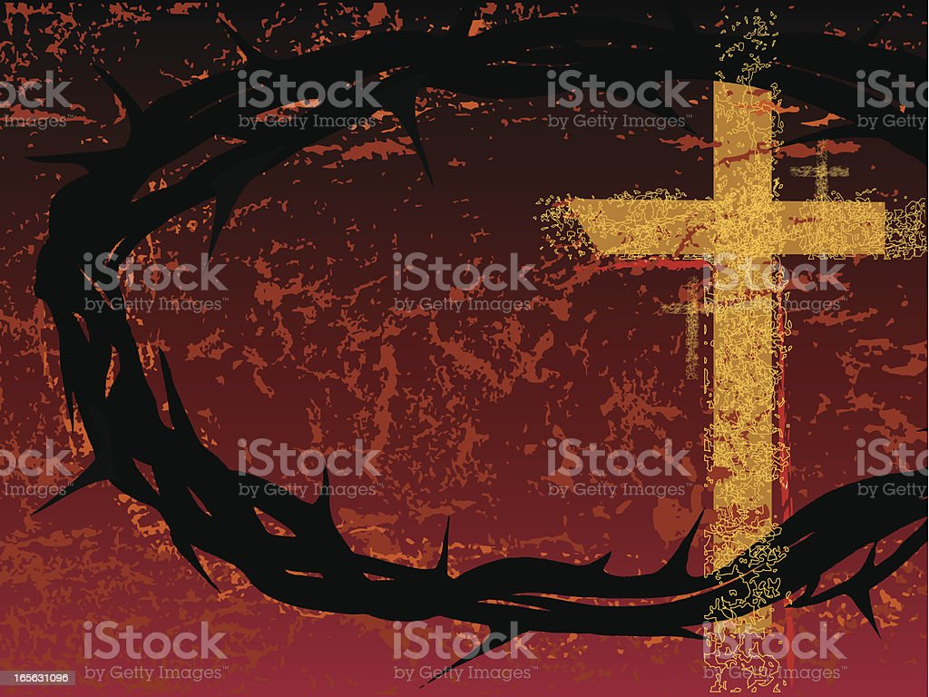 Crown and Crosses royalty-free stock vector art