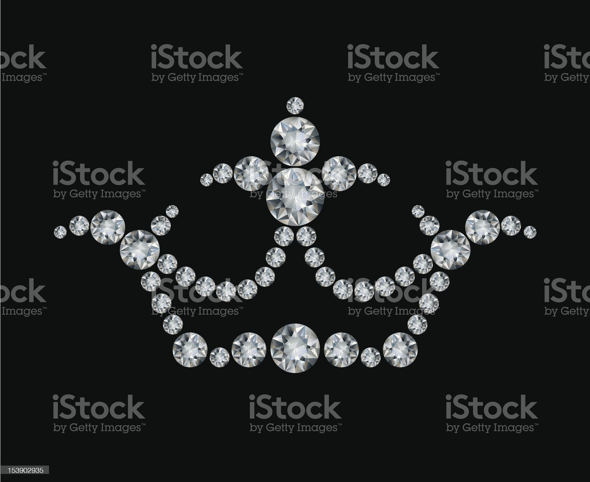Crown and diamonds royalty-free stock vector art