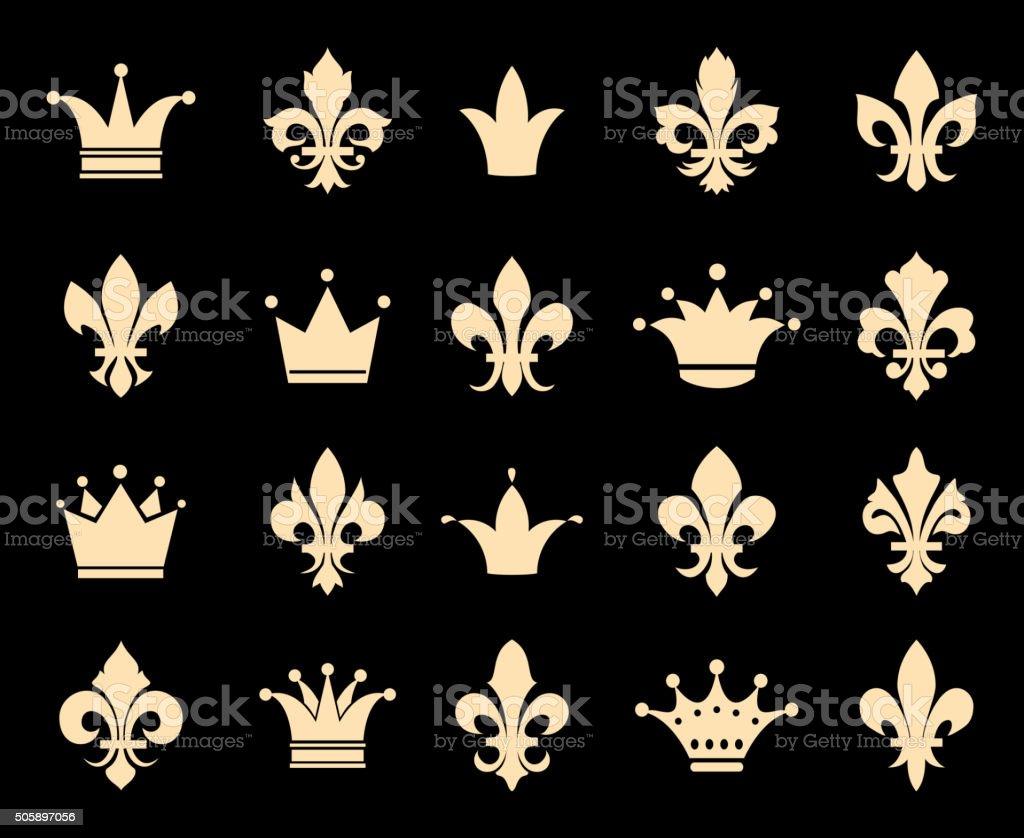 Crown and fleur de lis icons vector art illustration