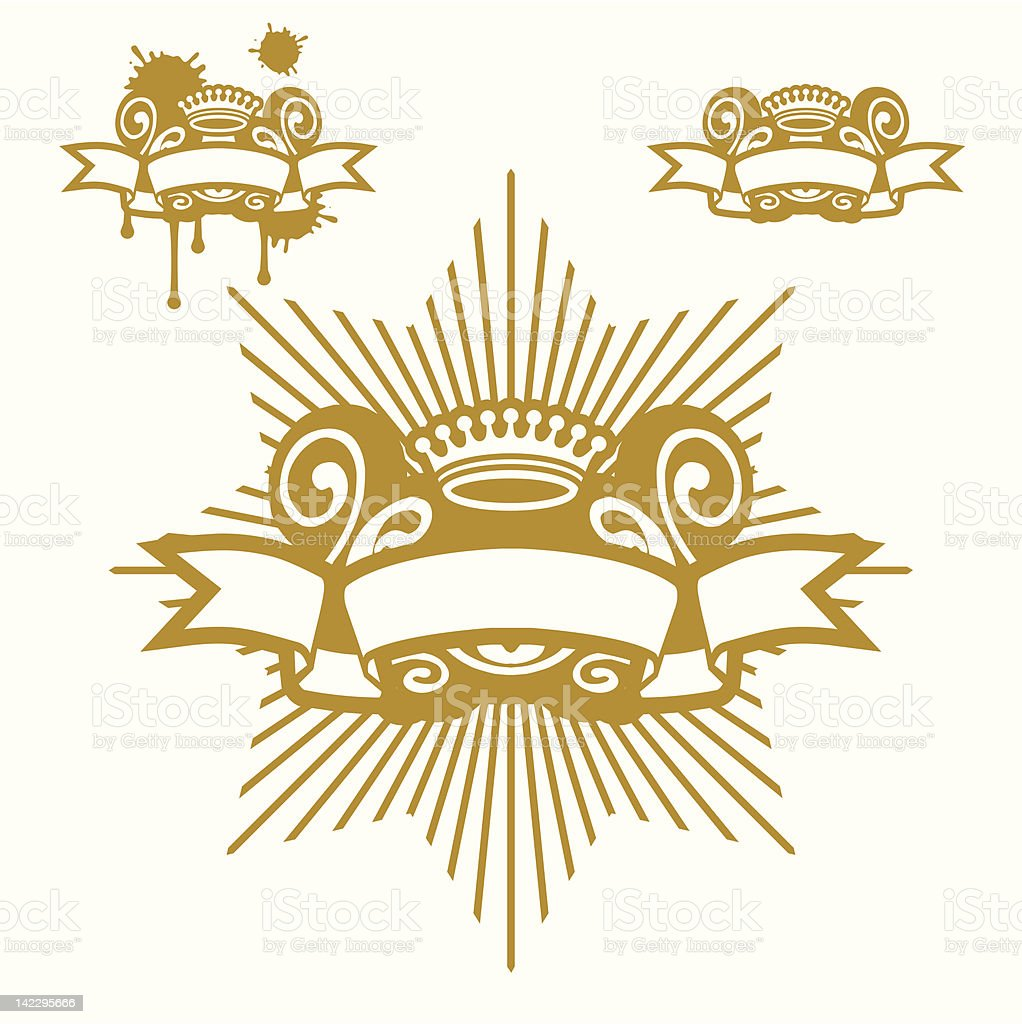 Crown And Scroll royalty-free stock vector art