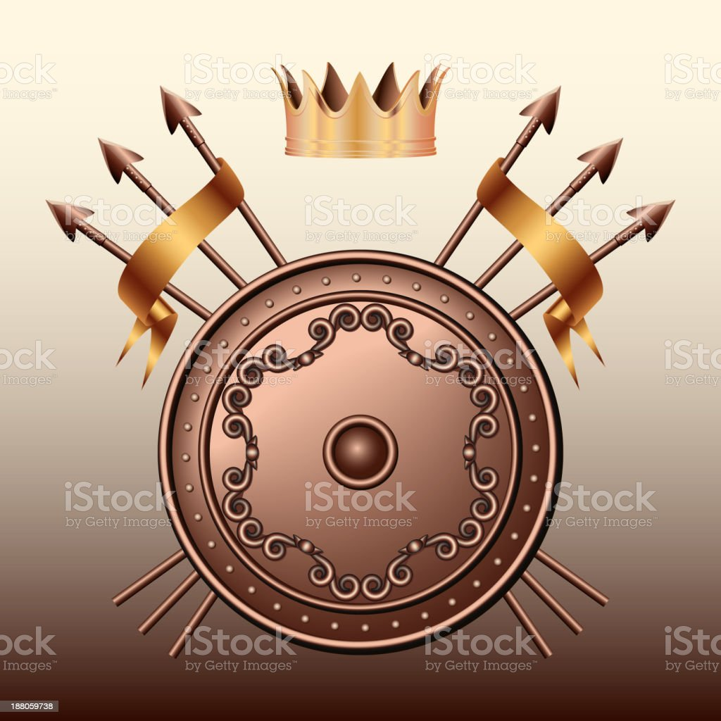 Crown, Bronze shield and crossed spears. royalty-free stock vector art