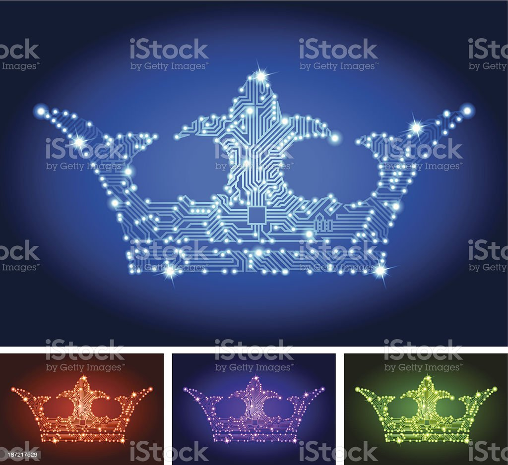 Crown Circuit Board Color Set royalty-free stock vector art