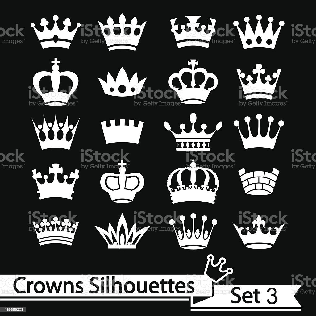 Crown collection - vector silhouette royalty-free stock vector art