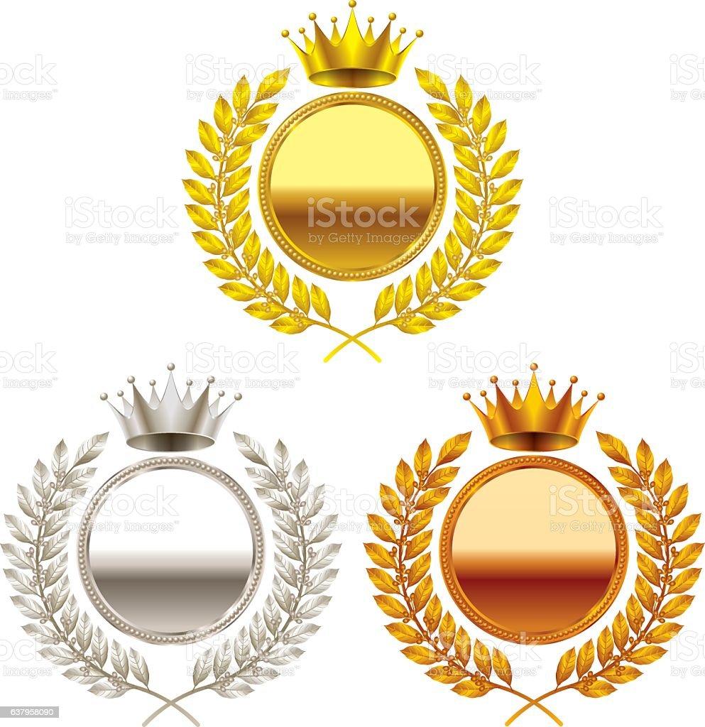 crown. gold medal. silver medal. bronze medal. vector art illustration