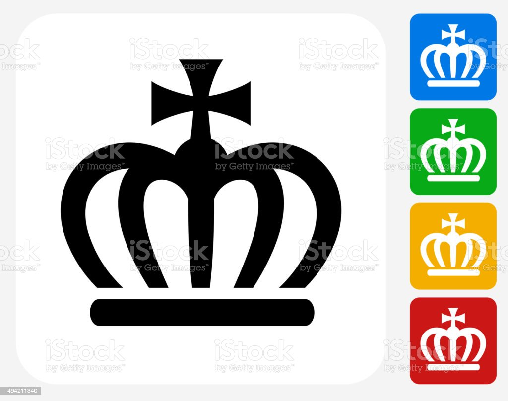 Crown Icon Flat Graphic Design vector art illustration
