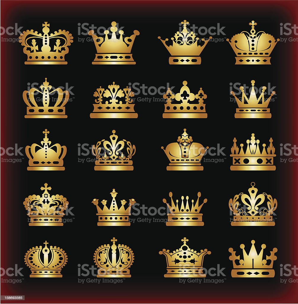 Crown icon gold isolated on black background. Vector illustration vector art illustration