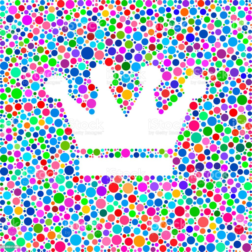 Crown Icon on Color Circle Background Pattern vector art illustration