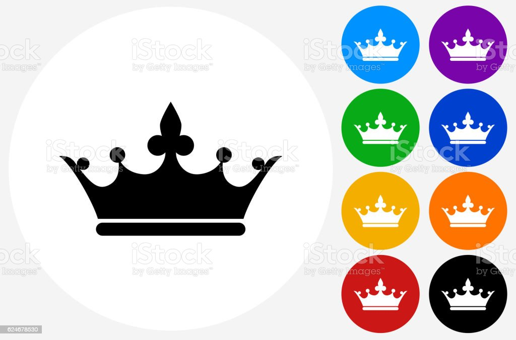 Crown Icon on Flat Color Circle Buttons vector art illustration