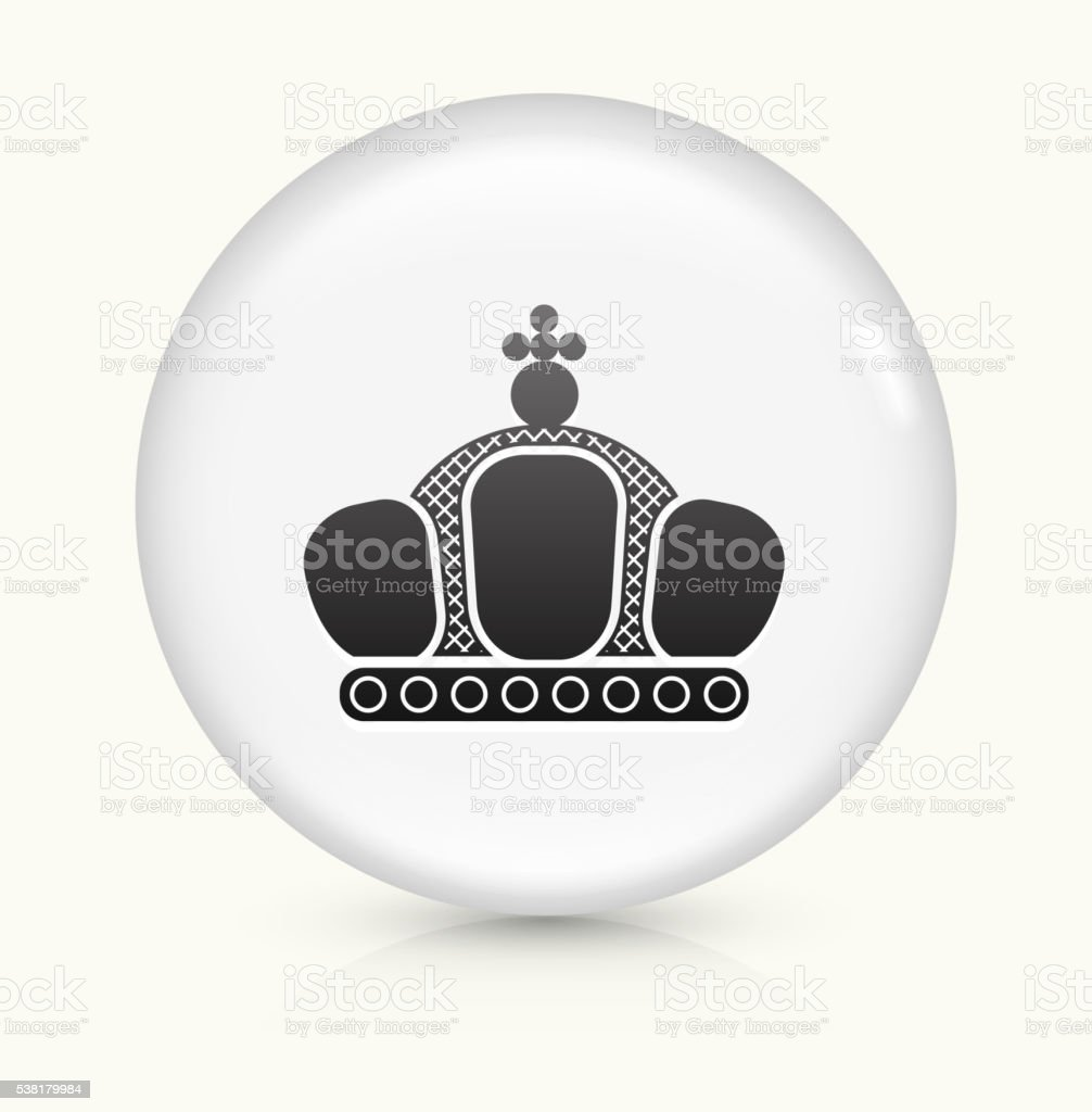 Crown icon on white round vector button vector art illustration