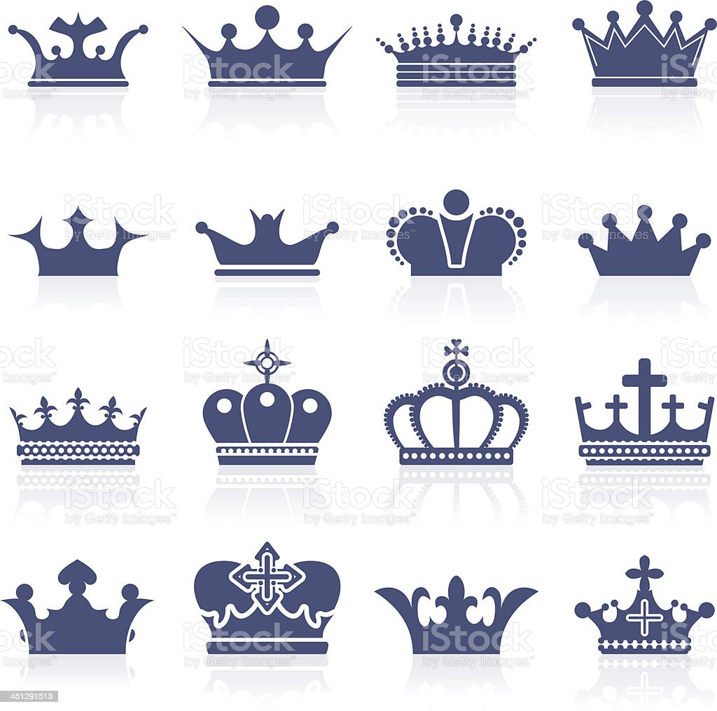 Crown icon set royalty-free stock vector art