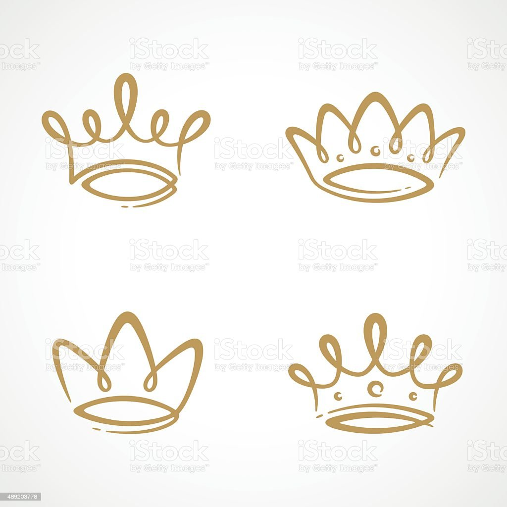 Crown icon set vector art illustration