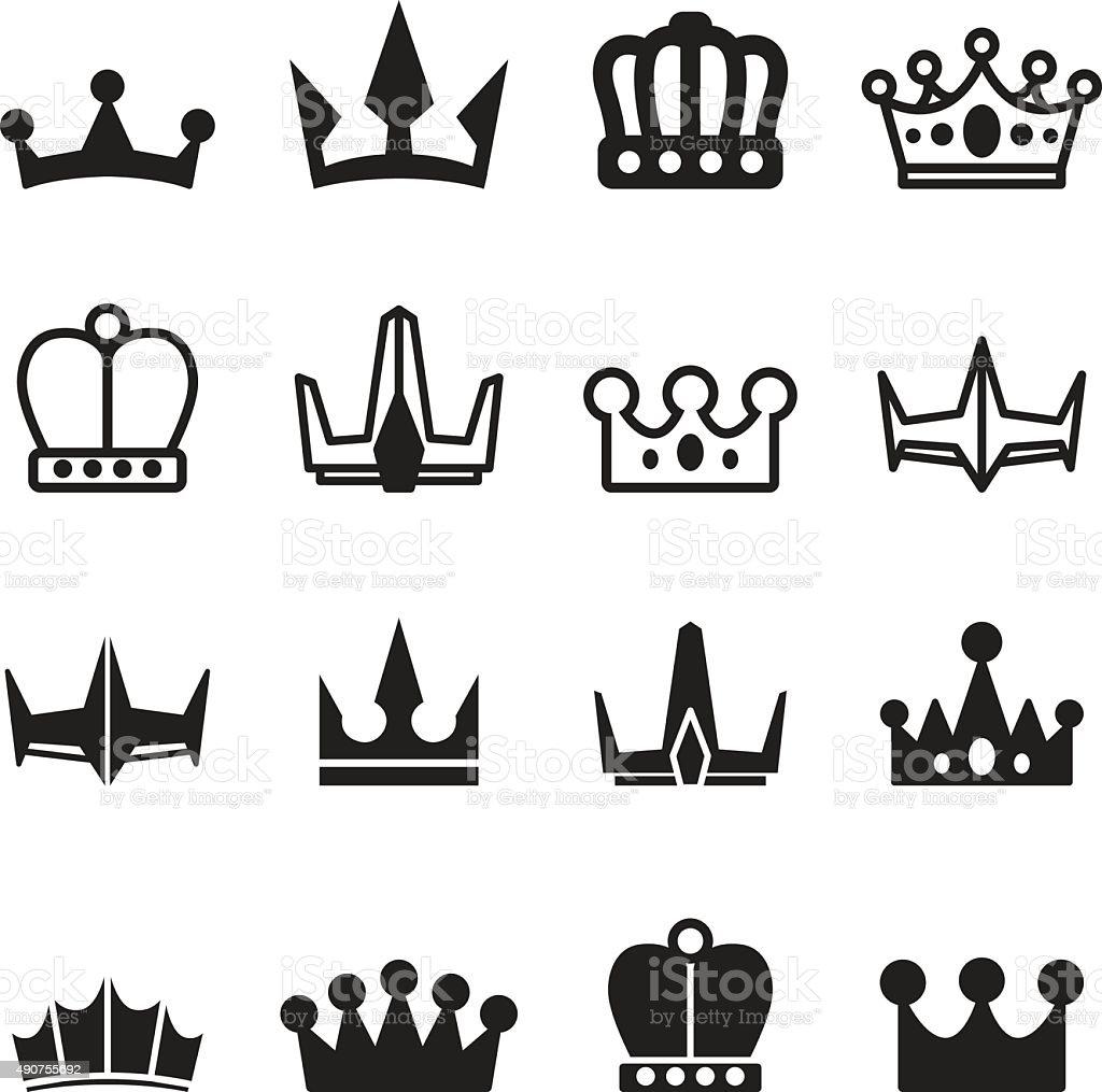 Crown icon set vector art illustration