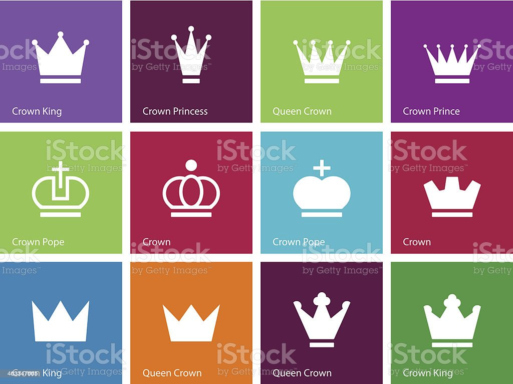 Crown icons on color background. royalty-free stock vector art