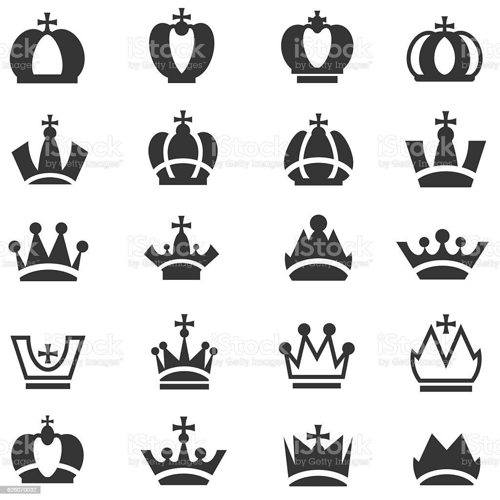 Crown icons set vector art illustration
