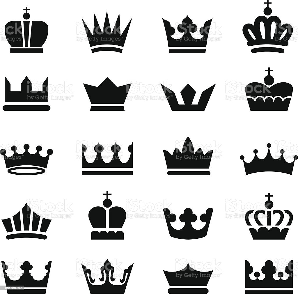 Crown Icons vector art illustration