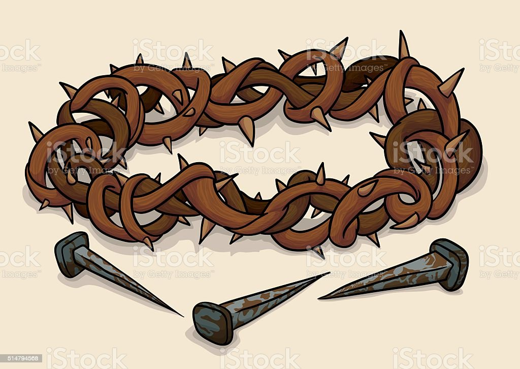 Crown of Thorns and Nails for Good Friday vector art illustration