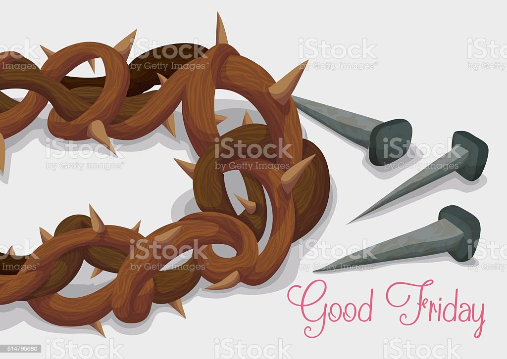 Crown of Thorns and Rusty Nails for Good Friday vector art illustration
