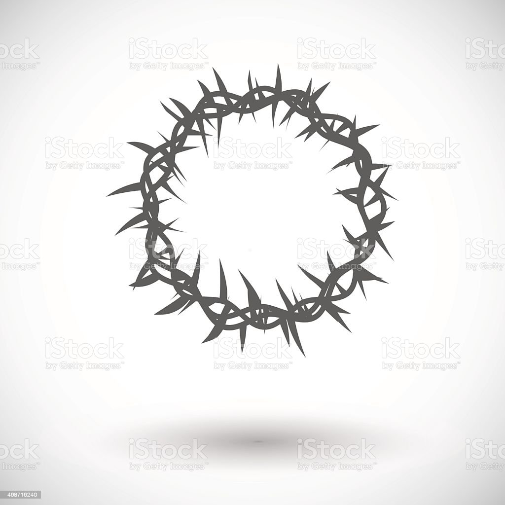 Crown of thorns single icon vector art illustration