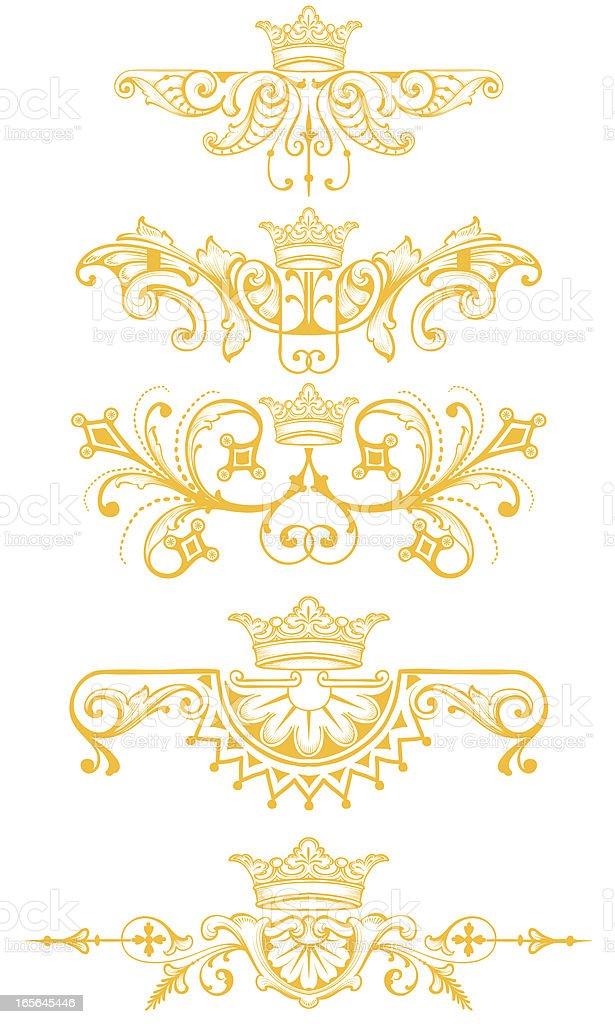 Crown Ornament Set engraved royal scrollwork vector art illustration