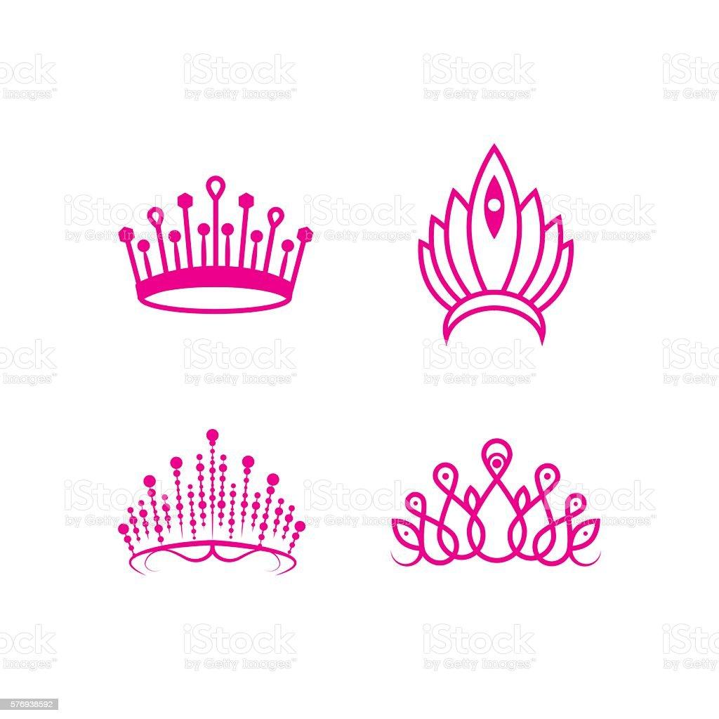 crown pageant set vector art illustration