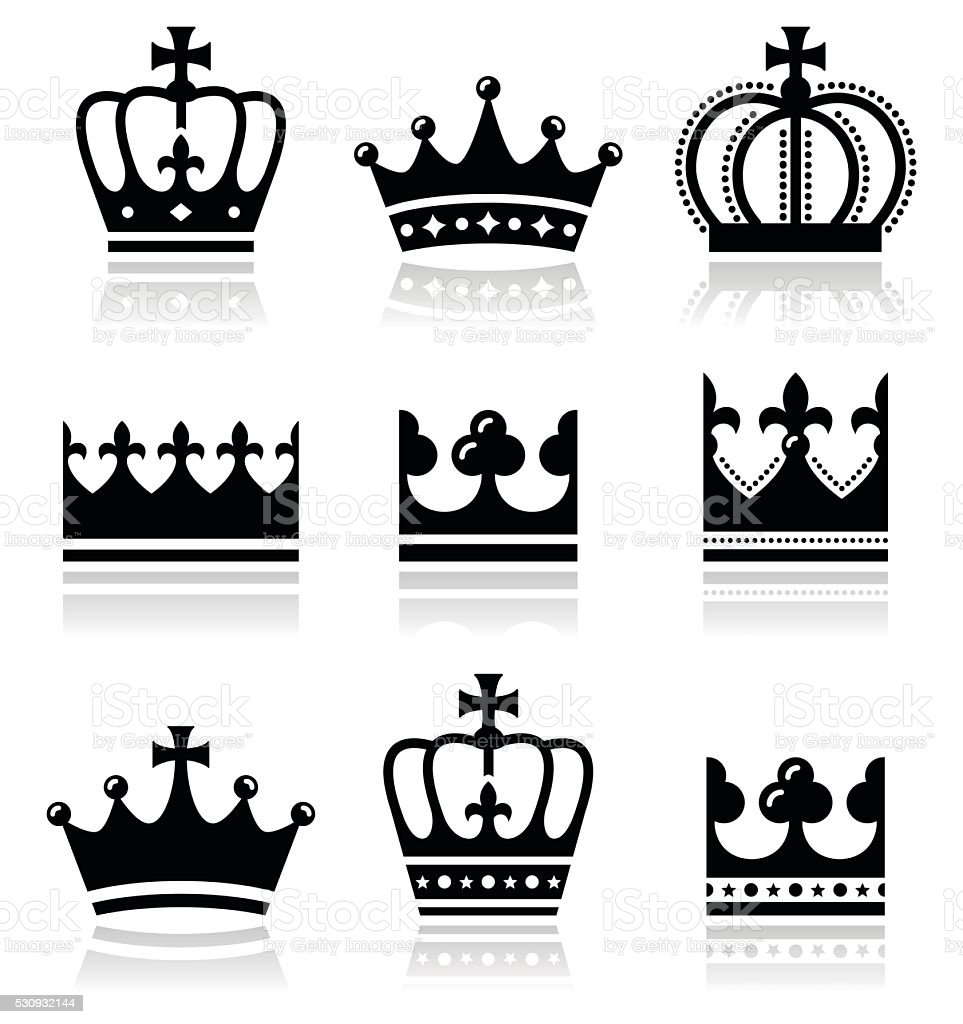 Crown, royal family icons set vector art illustration
