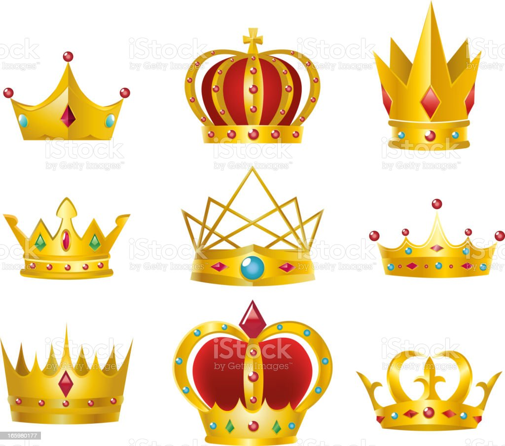 Crown set vector art illustration