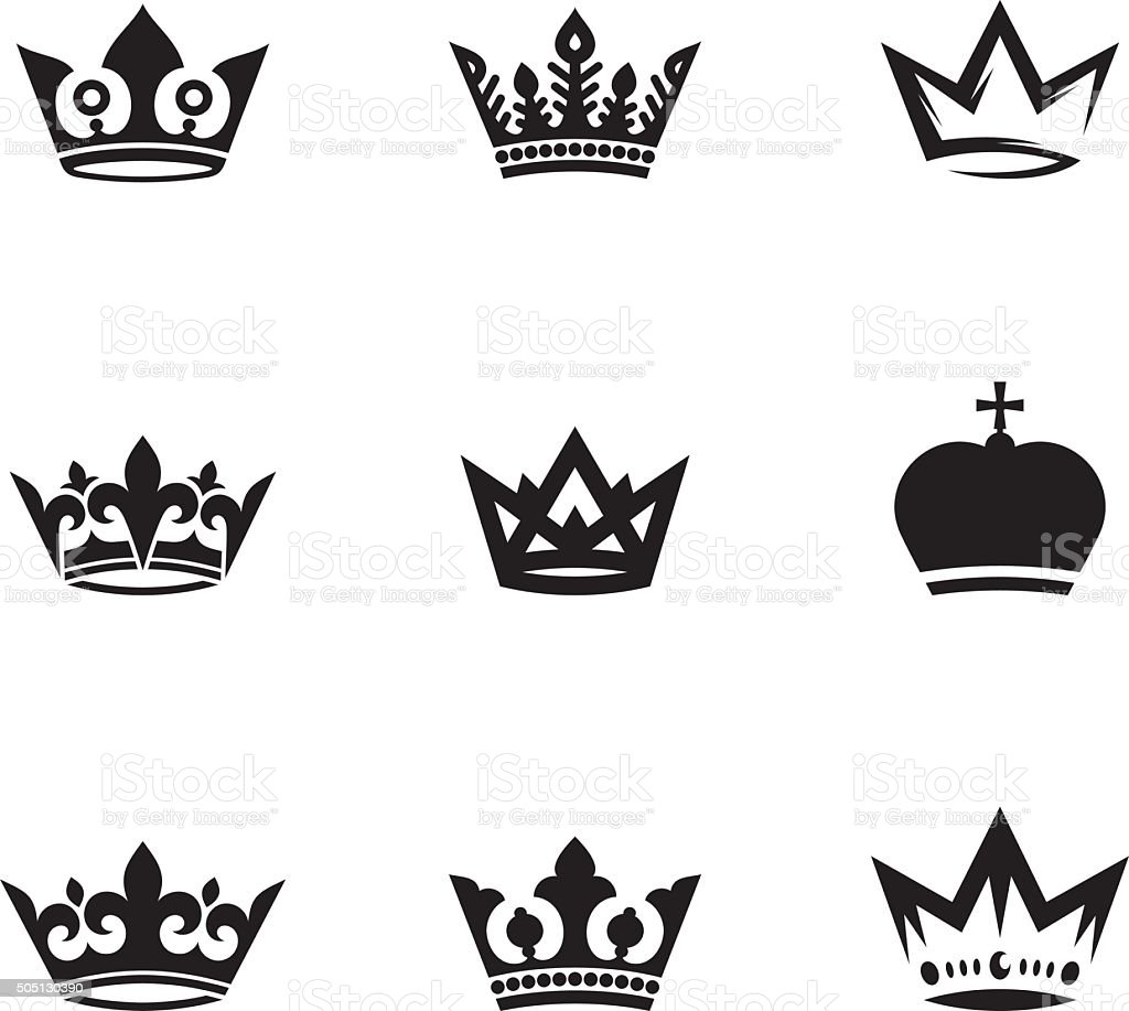 Crown set vector art illustration