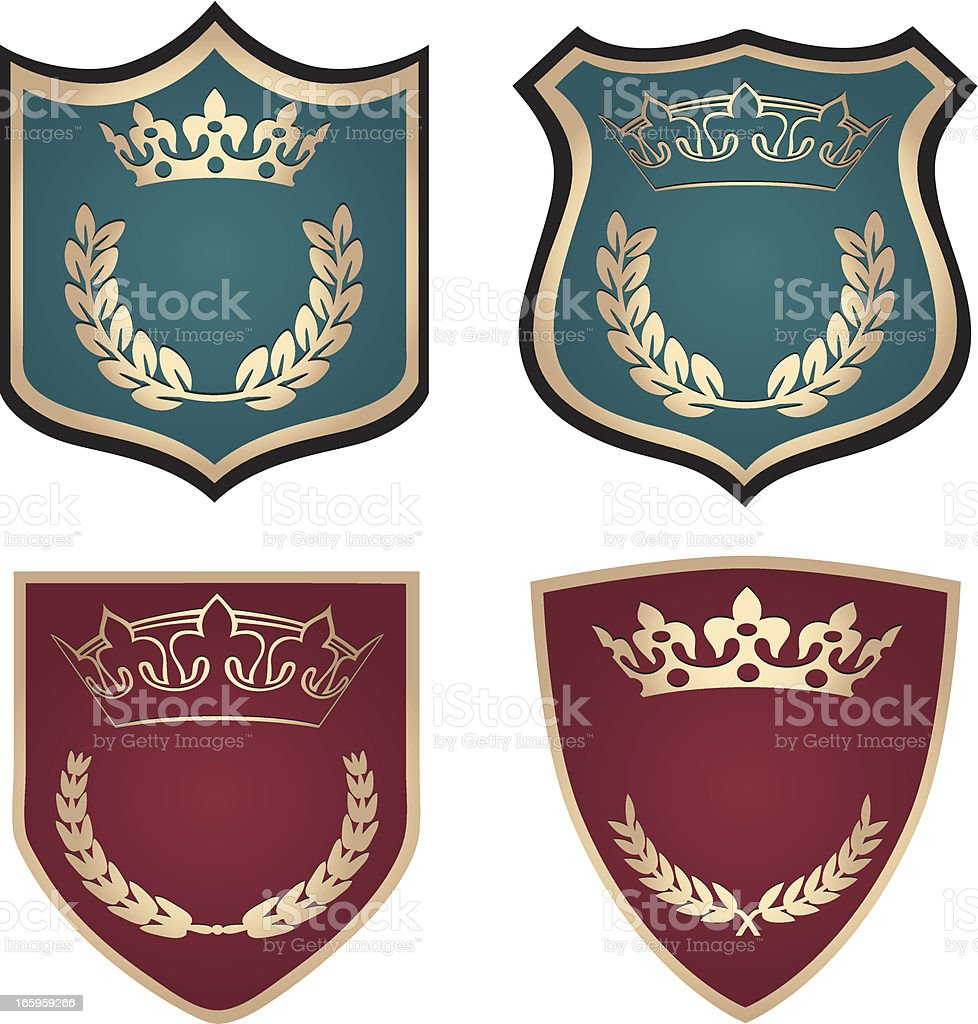 Crown Shields With Laurel Wreaths royalty-free stock vector art