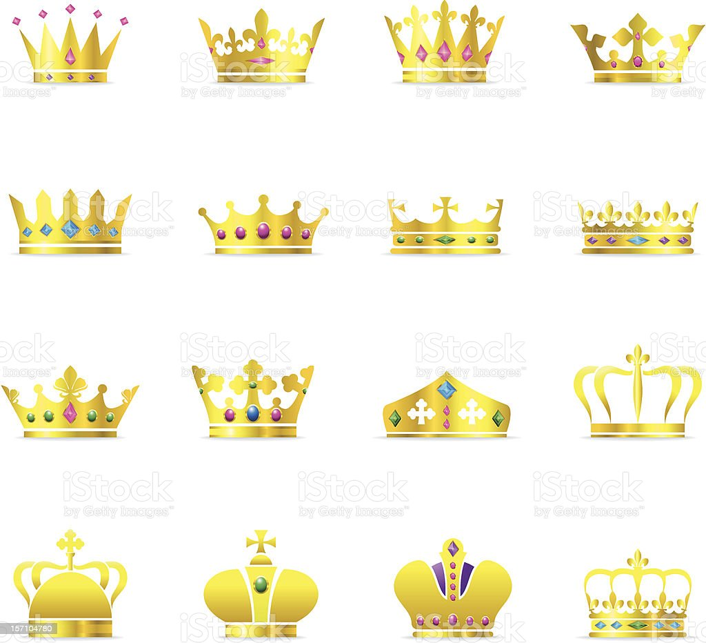 Crown Symbols - Color Series vector art illustration