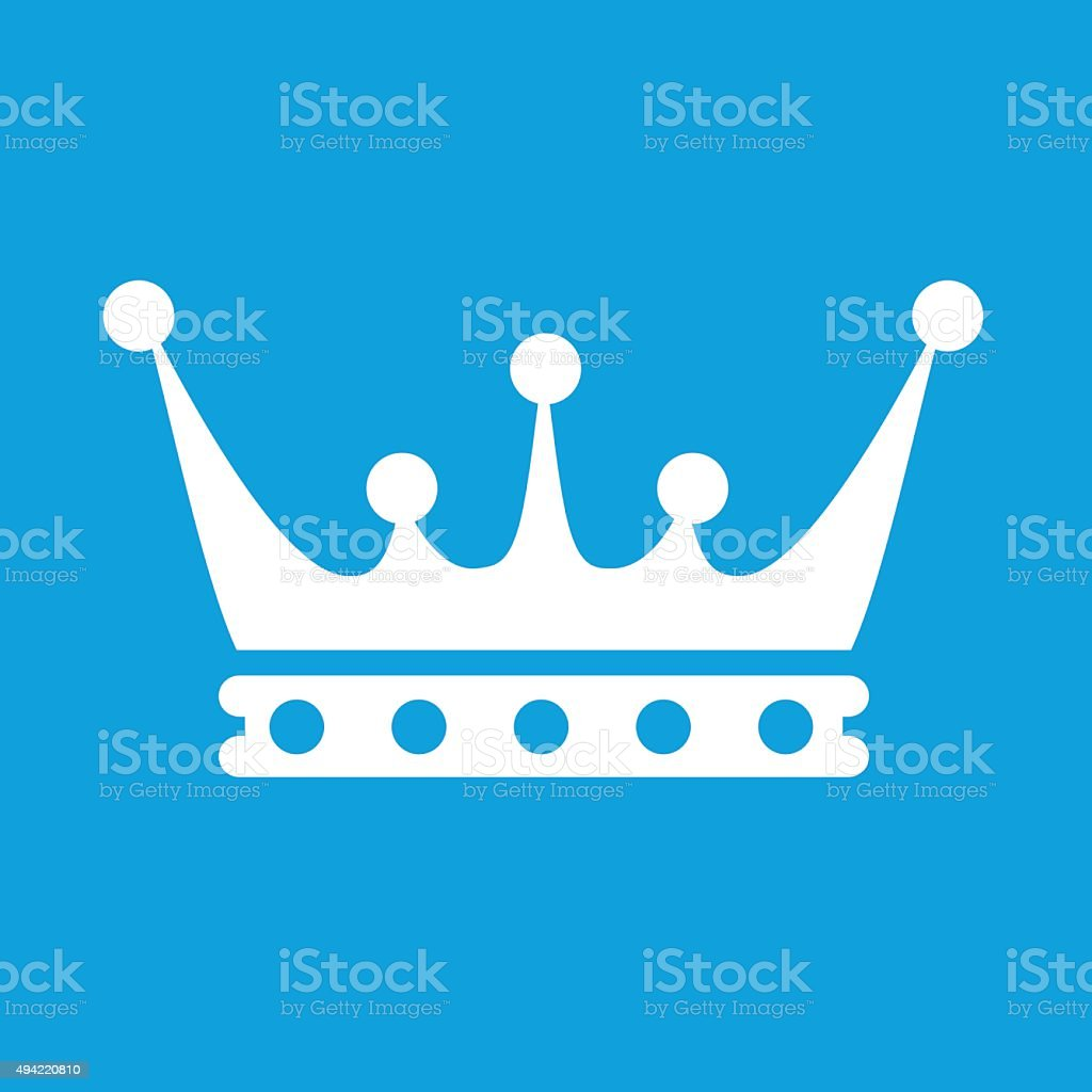 Crown white icon vector art illustration