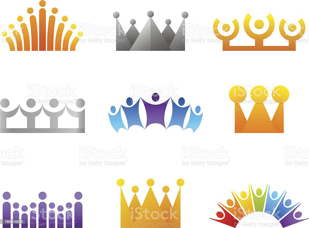 Crowns and people in the shape of crowns royalty-free stock vector art
