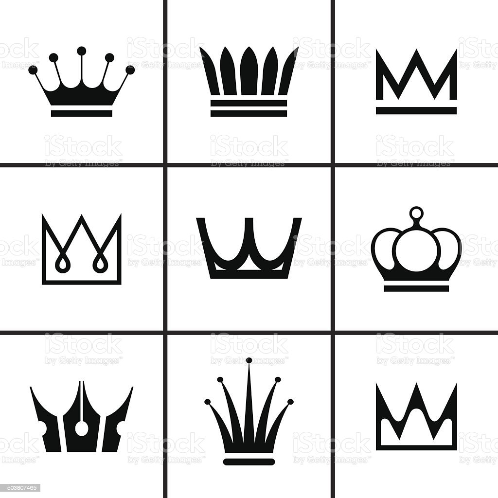 Crowns icons set vector art illustration