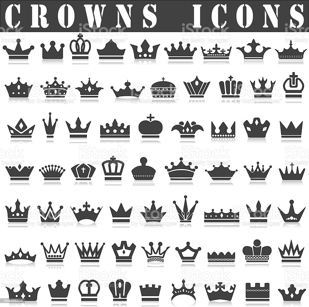 crowns icons vector art illustration