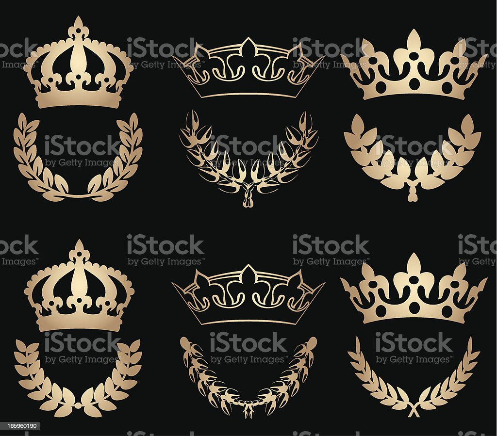 Crowns In Gold royalty-free stock vector art