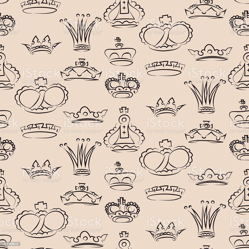 Crowns pattern vector art illustration