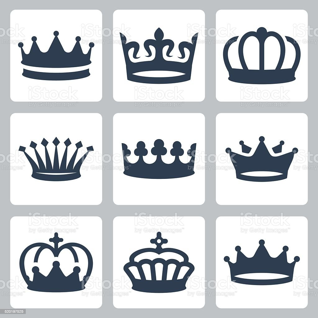 Crowns vector icons set vector art illustration