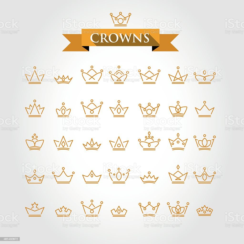 crowns vector art illustration