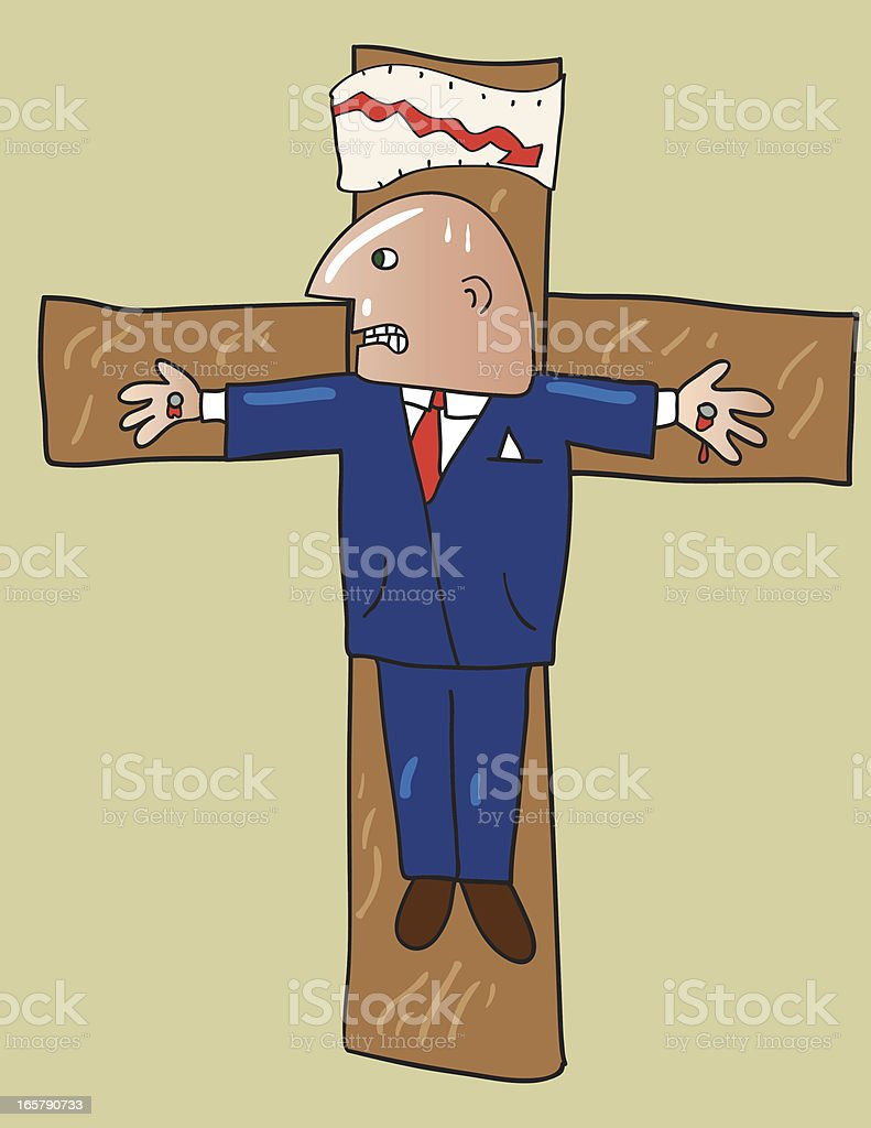 Crucified Businessman royalty-free stock vector art