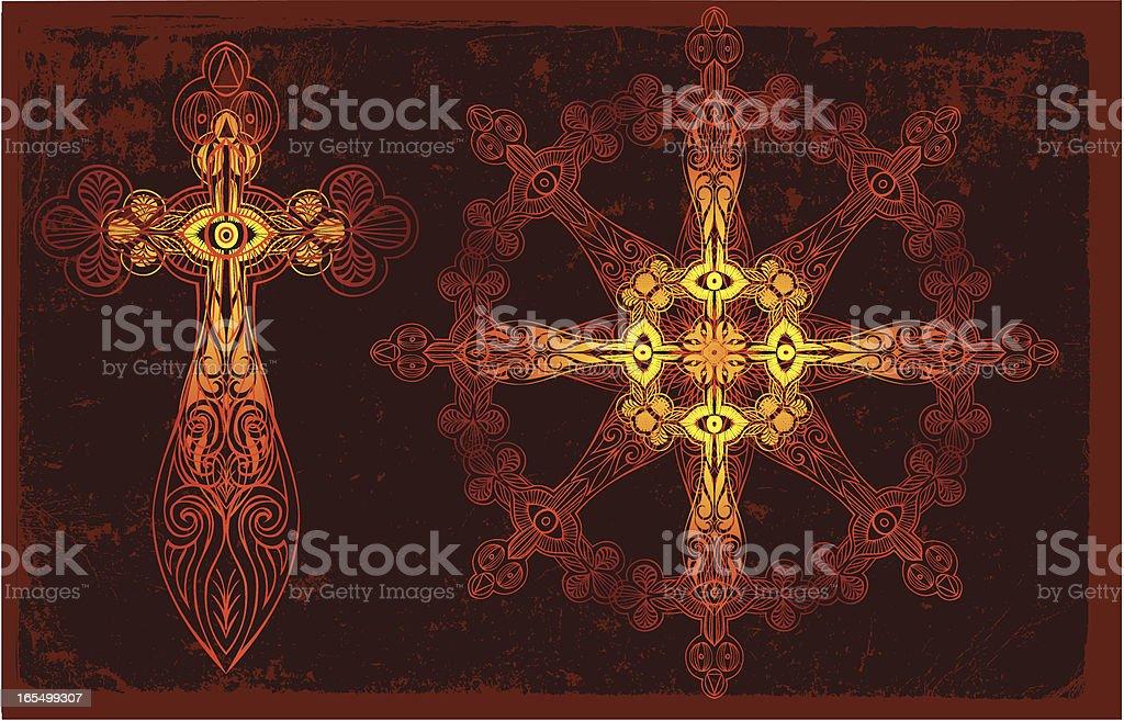 Kruzifix und ein Rad Zeit Lizenzfreies vektor illustration