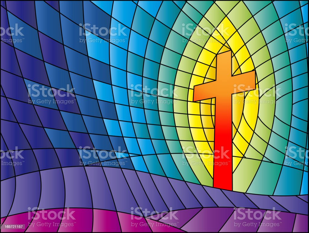 Crucifix Stained Glass vector art illustration