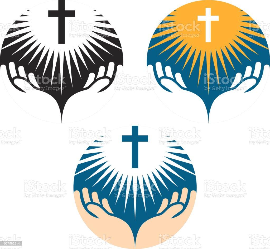 Crucifix symbol. Crucifixion of Jesus Christ icons. Church logo vector art illustration