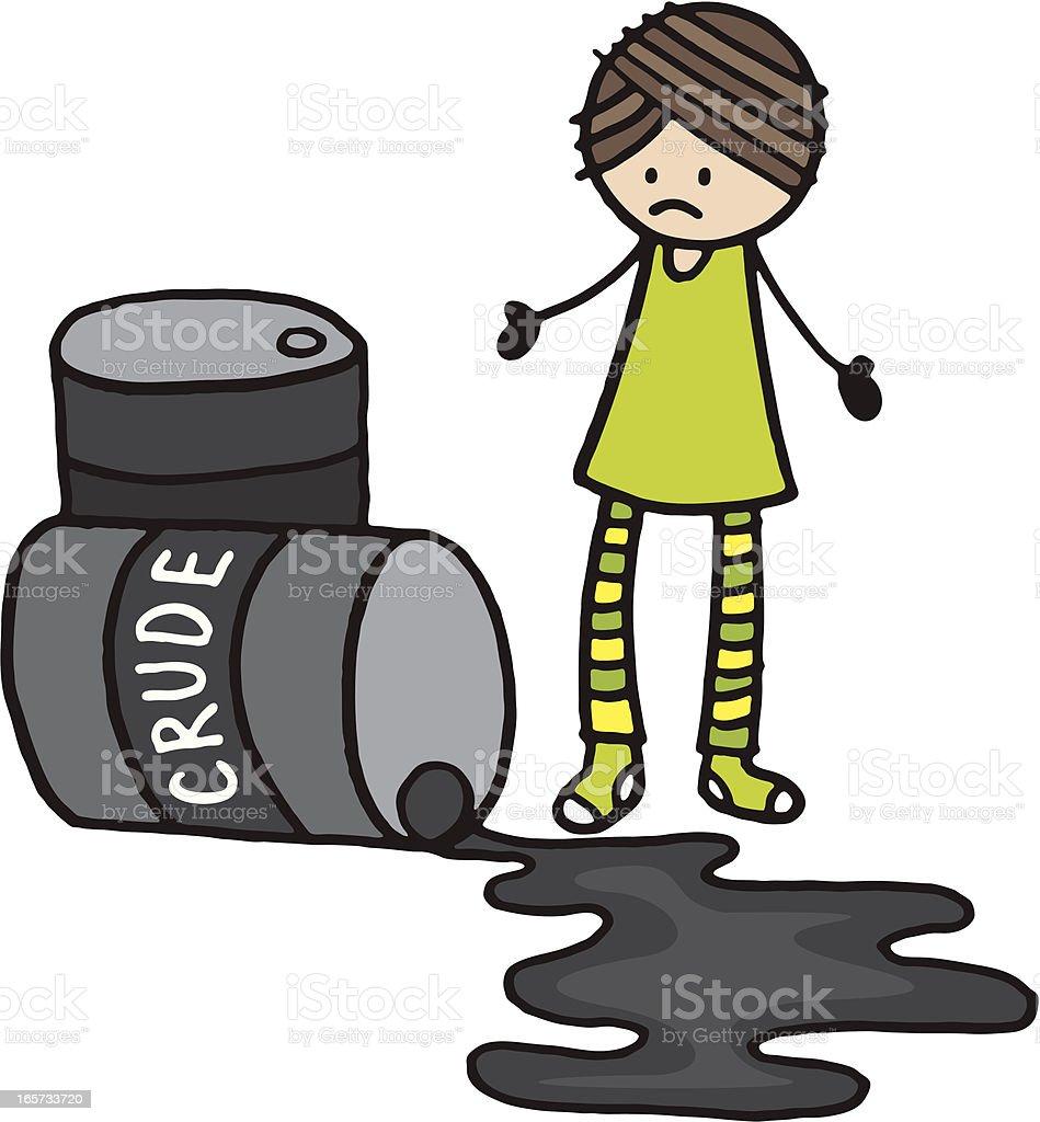 Crude oil spill vector art illustration