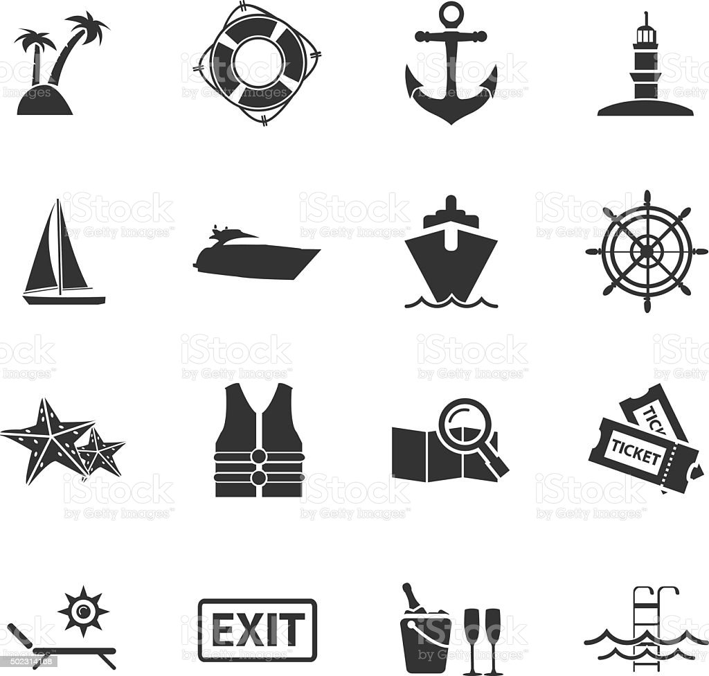 Cruise icons vector art illustration