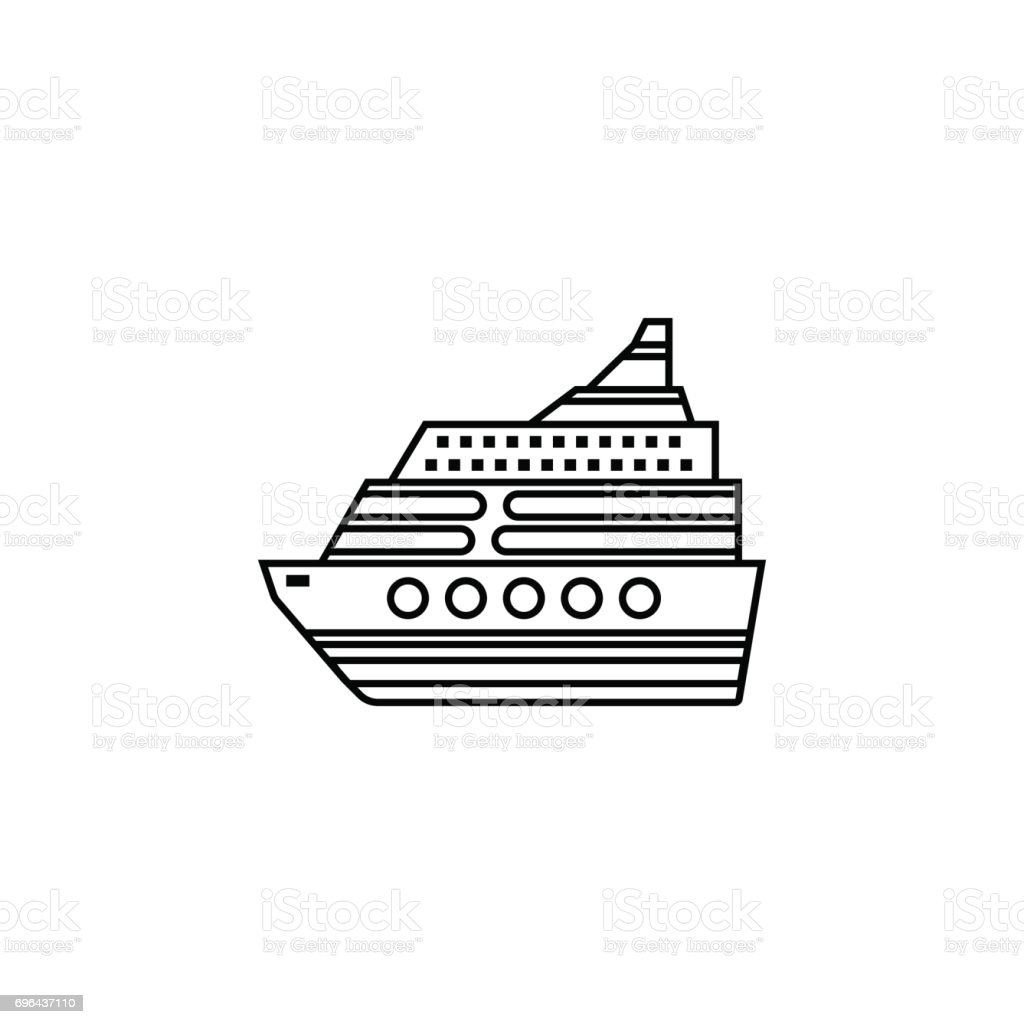 Cruise line icon, travel tourism vector art illustration