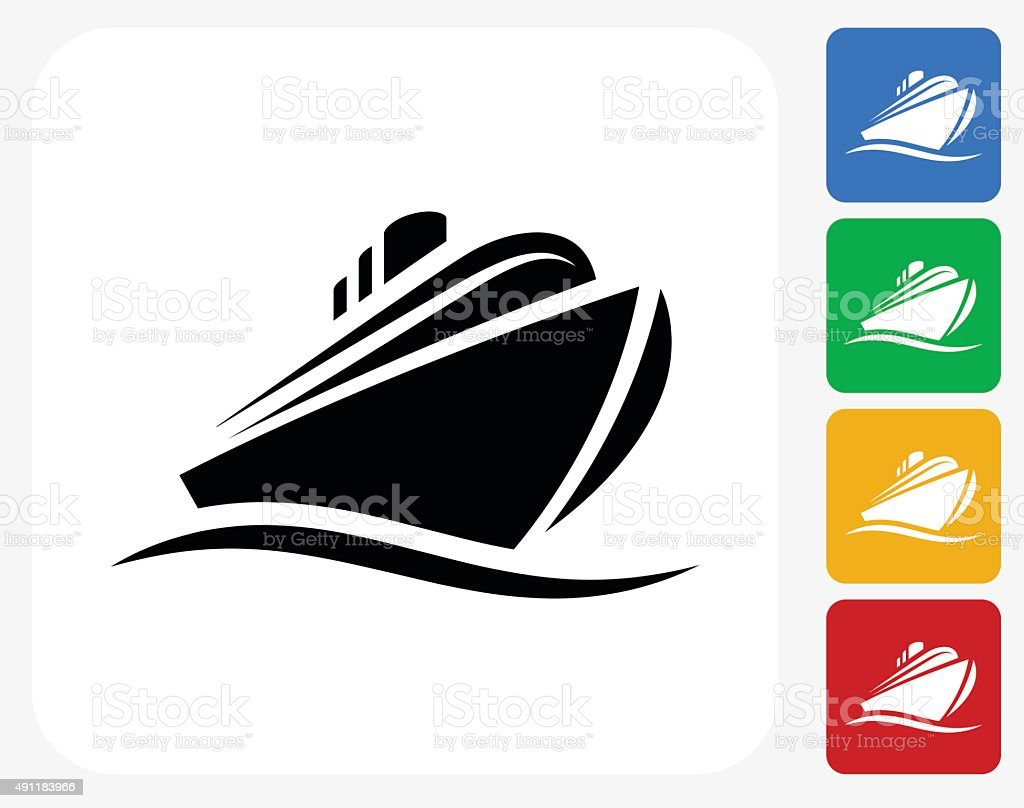 Cruise liner Icon Flat Graphic Design vector art illustration