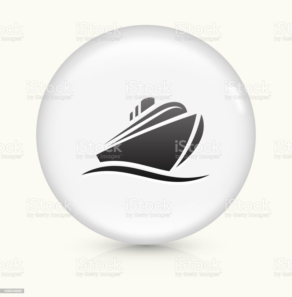 Cruise liner icon on white round vector button vector art illustration