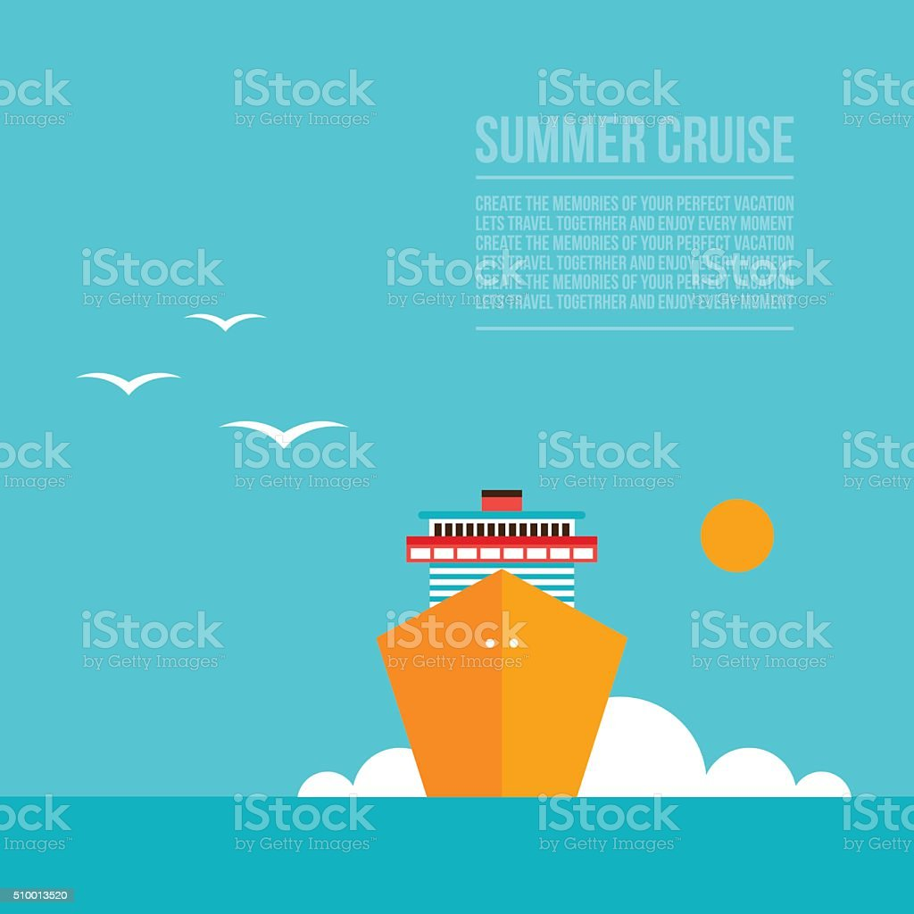Cruise liner ship Colorful background Travel Tourism Vacation concept vector art illustration