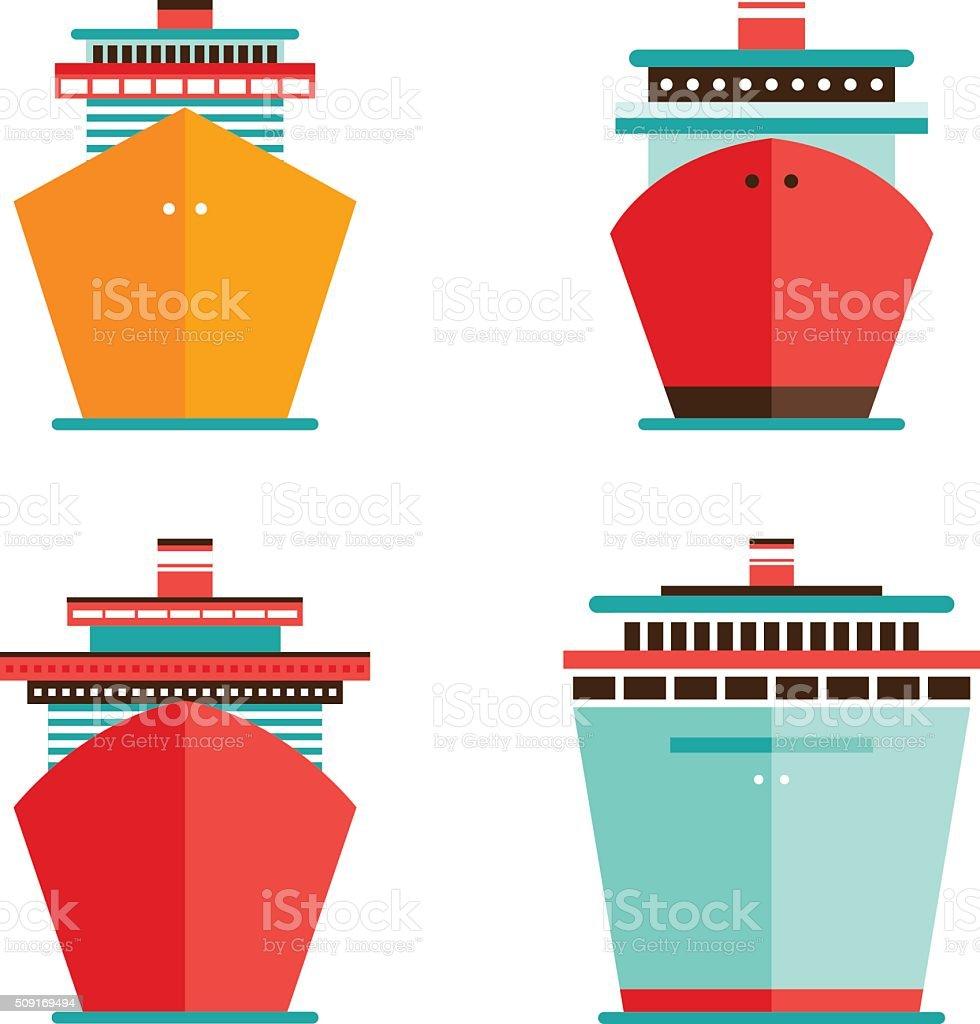 Cruise liner ship icon set Sea Ocean travel vacation concept vector art illustration