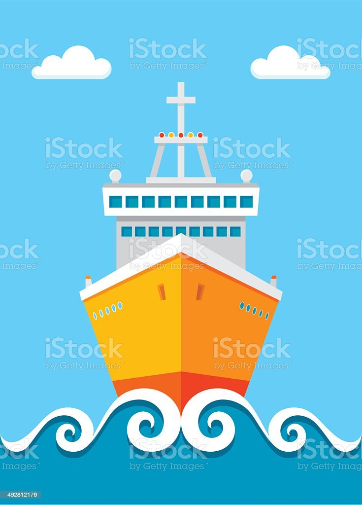 Cruise liner - vector illustration in flat design style. Ship vector illustration. vector art illustration